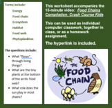 worksheet accompanies 15 minute video Food Chains Compilation: Crash Course Kids