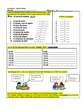 worksheet- dates and months in Spanish