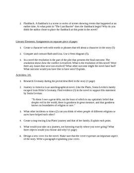 worksheet on Journey to America