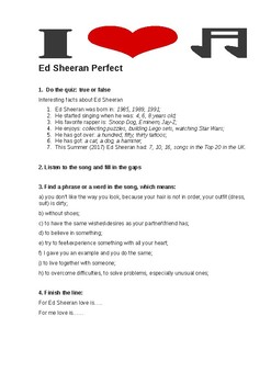 worksheet song: Ed Sheeran Perfect