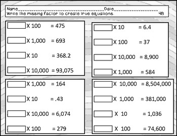 worksheets - multiplying by 10 - 100 - 1,000 - 10,000