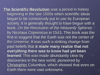 world history--scientific revolution