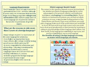 world language department brochure
