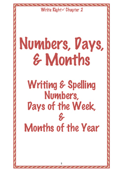 EFL Write Right Chapter 2- Numbers, Days, & Months
