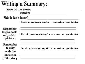 writing a summary by susan millan teachers pay teachers