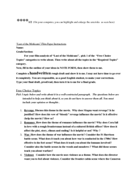"""writing film analysis unit for """"Last of the Mohicans"""" film (40 pages)"""