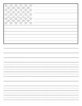 writing paper with flag- Veteran's Day/ July 4th