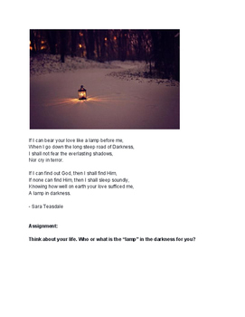 "writing prompt / journal entry using Sara Teasdale's poem ""Lamp in Darkness"""