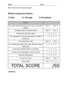 writing rubric (so easy)