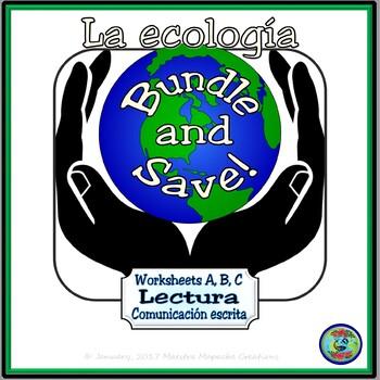 Ecology Activity Worksheets A, B, C Bundle / Hojas de trabajo A, B, C