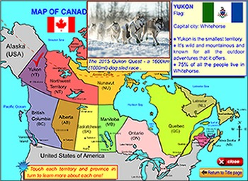 Map of Canada - for the SmartBoard and Interactive Whiteboard.