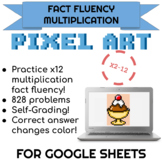 x2-12 Multiplication Pixel Art! Digital Math Facts Sundae on Google Sheets