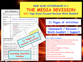 x11 pages of revision activities for Media and free press NEW GCSE CITIZENSHIP