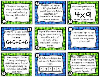 x2 and x4 Multiplication Task Cards (Grade 3 GoMath! 4.1)