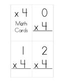 x4 Multiplication Flash Cards