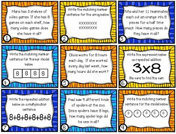 x8 Multiplication Task Cards (Grade 3 GoMath! 4.8)