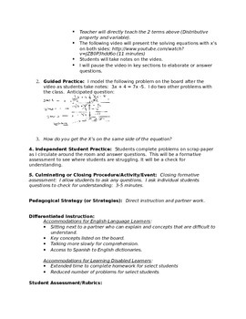 x's on both sides lesson plan