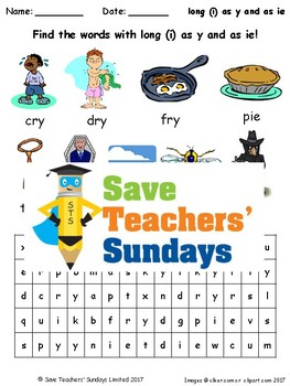 y as a vowel (long i) and ie Lesson Plan, Worksheets & Other Teaching Resources