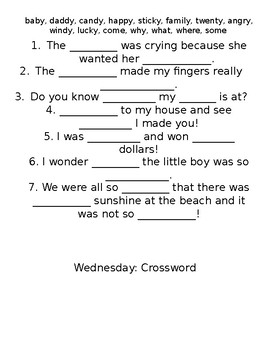 y (long e sound) Spelling Homework