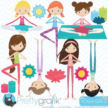 yoga girls clipart commercial use, vector graphics, digital clip art - CL442