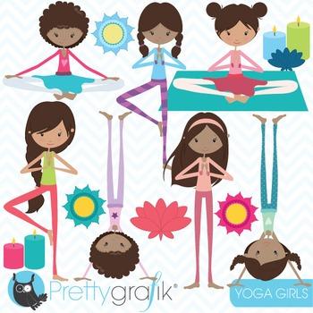 yoga girls clipart commercial use, vector graphics, digital clip art - CL846