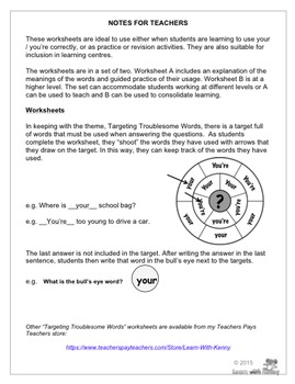 your/you're - Targeting Troublesome Words Worksheets