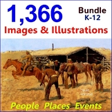 Clip Art & Posters Bundle: 1,366 Images & Illustrations | People, Places, Events