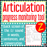 /z/ articulation baseline and end progress monitor