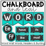 Word Wall in a Chalkboard and Teal Classroom Decor Theme