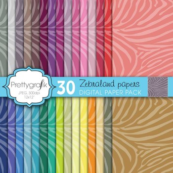 zebra animal print digital paper, commercial use, scrapbook papers - PS599