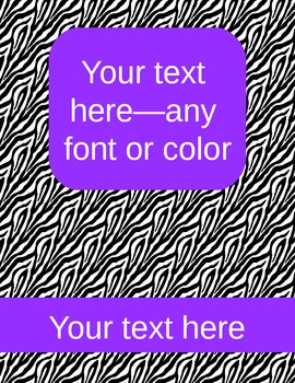 zebra binder covers (editable)--purple