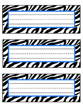zebra nameplates or labels blue accent with lines