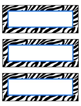 zebra nameplates or labels blue accent