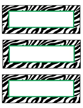 zebra nameplates or labels green accent