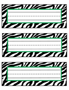 zebra nameplates or labels green accent with lines