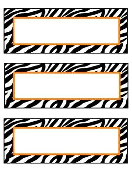 zebra nameplates or labels orange accent