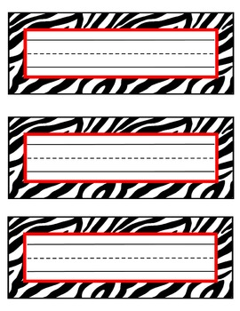 zebra nameplates or labels red accent with lines