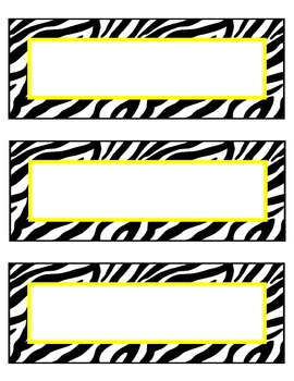 zebra nameplates or labels yellow accent