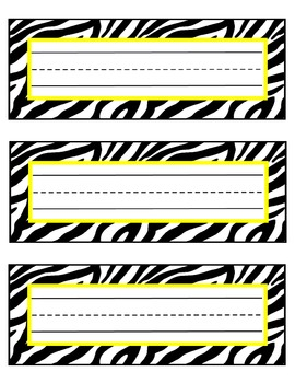 zebra nameplates or labels yellow accent with lines