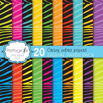 zebra print digital paper, commercial use, scrapbook paper