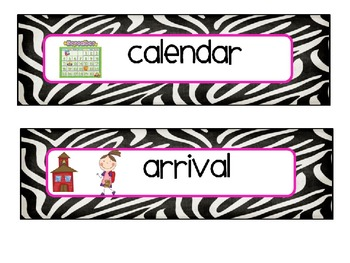 zebra themed editable schedule cards