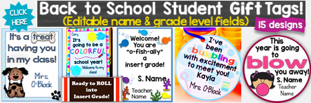 Back to School Student Gift Tags Editable