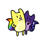 Gato Rainbow and Gata Moon